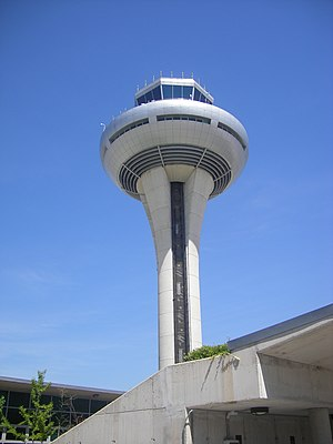 Spanish air traffic controllers strike - Control tower in Terminal 4 in the Madrid-Barajas airport