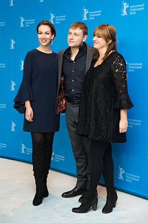 Berlin Syndrome (film) - Producer Polly Staniford, actor Max Riemelt and director Cate Shortland at the Berlinale 2017