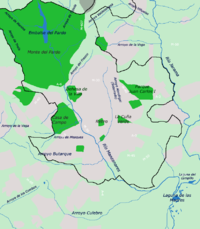 Mapa con los cursos de agua de la ciudad de Madrid y su entorno.