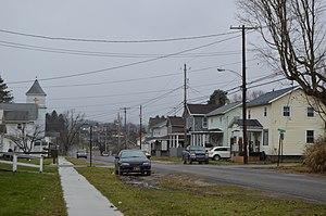 Hawthorn, Pennsylvania - Houses on Main Street; the Methodist church is at left
