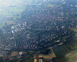 Aerial view over western suburbs of Mainz, Germany.