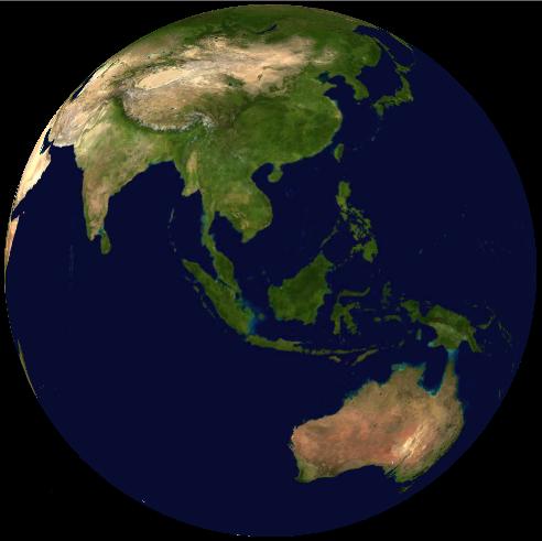 Malaysia on satellite map (NASA World Wind)