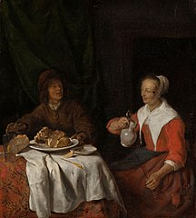 Man and woman sharing a meal