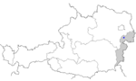 Map of Austria, position of Eisenstadt highlighted