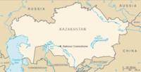Map showing the location of Baikonur Cosmodrome in Kazakhstan.