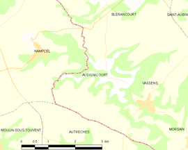 Mapa obce Audignicourt
