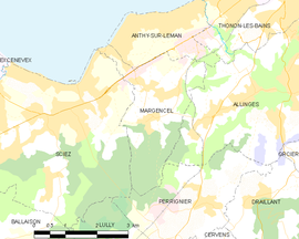 Mapa obce Margencel