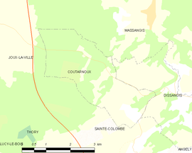 Mapa obce Coutarnoux