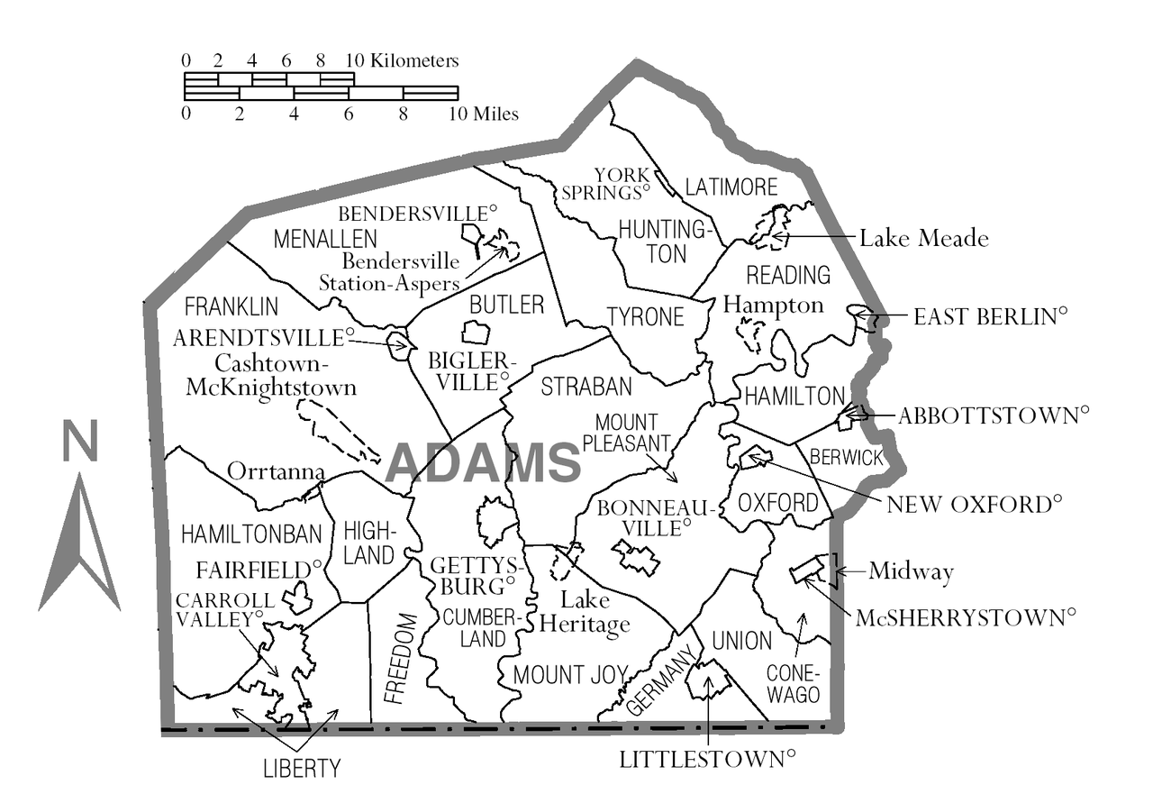 File map of adams county  pennsylvania on land size