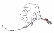 Map of Alaska highlighting Juneau Borough