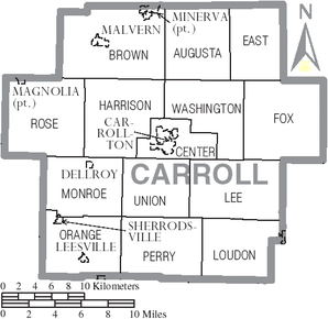 Map of Carroll County Ohio With Municipal and Township Labels.PNG