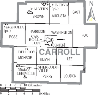 Carroll County, Ohio - Map of Carroll County, Ohio with Municipal and Township Labels