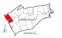 Map of Cumberland County, Pennsylvania highlighting Hopewell Township