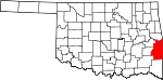 State map highlighting Le Flore County