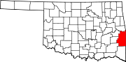 Map of Oklahoma highlighting Le Flore County.svg