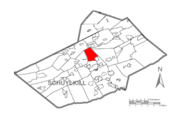 Map of Schuylkill County, Pennsylvania Highlighting New Castle Township