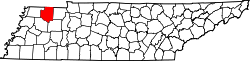 Map of Tennessee highlighting Weakley County.svg