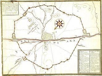 Siege of Badajoz (1658) - Map of the Siege of Badajoz by João Nunes Tinoco.
