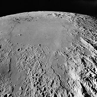 Mare Vaporum - Oblique view facing south of Mare Vaporum from lunar orbit (Apollo 17)