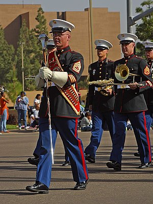 Blood stripe - The blood stripe is visible on the uniforms of the Marine Corps Recruit Depot San Diego Band in 2003