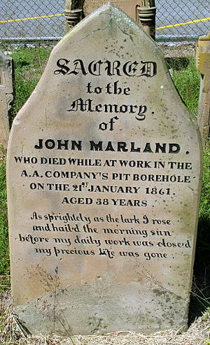 Australian Agricultural Company - Grave Stone of John Marland, who died while working in the Hamilton Borehole. Grave stone is located behind Christchurch Cathedral, Newcastle, New South Wales