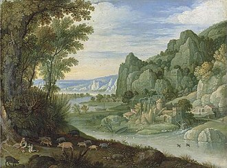Martin Ryckaert - A mountainous river landscape with the Prodigal Son