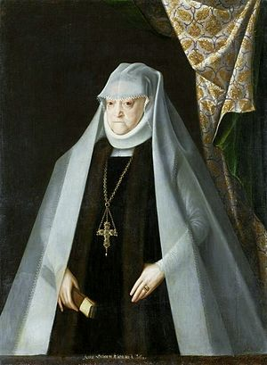 Headscarf - 16th century wimple, worn by a widowed queen Anna of Poland, with veil and a ruff around the neck.