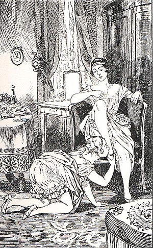 Foot fetishism - The Countess with the whip, an illustration by Martin van Maële