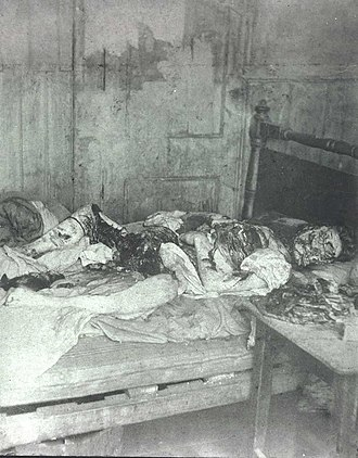 Jack the Ripper - Official police photograph of Mary Kelly's murder scene in 13 Miller's Court