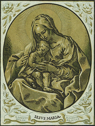 Chiaroscuro - Chiaroscuro woodcut of the Virgin and Child by Bartolommeo Coriolano, created between 1630 and 1655 (digitally restored)