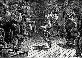 Master Juba - In 1842, Charles Dickens watched a spirited dancer in New York City and wrote about him in his American Notes, published the same year. This engraving was an illustration from that book. Later writers identified the youth as Juba.