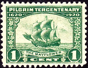Pilgrim Tercentenary half dollar - One-cent U.S. stamp for the tercentenary depicting the Mayflower