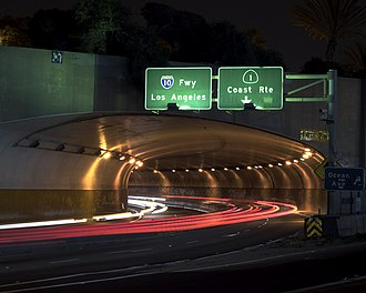 Interstate 10 - Western end of I-10 at the McClure Tunnel in Santa Monica