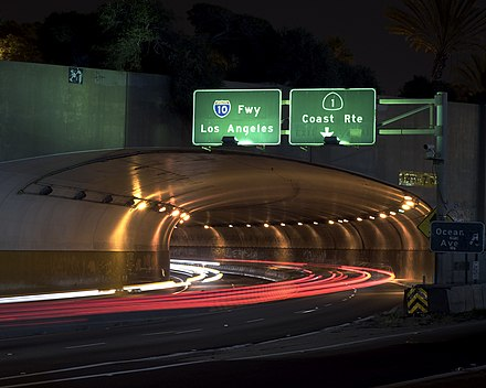 Western end of I-10 at the McClure Tunnel in Santa Monica McClure Tunnel west.jpg