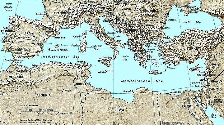 Map of the Mediterranean Sea Mediterranean Relief, 1028 x 1024.jpg