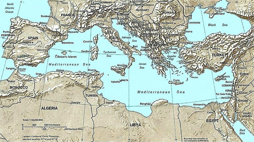 Mediterranean Relief, 1028 x 1024