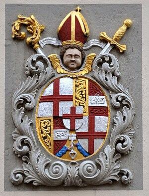 """Marquard Rudolf von Rodt - Coat of arms of Marquard Rudolf of Rodt in Meersburg on Lake Constance, """"Pfarrhof"""" at the Schlossplatz"""