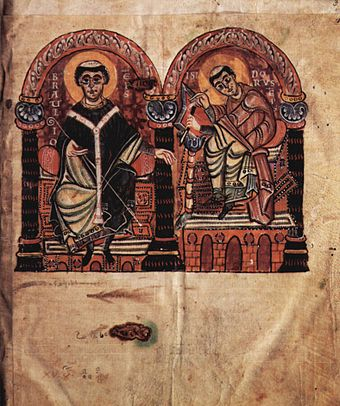 Isidore (right) and Braulio (left) in an Ottonian illuminated manuscript from the 2nd half of the 10th century Meister des Codex 167 001.jpg
