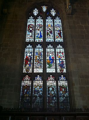 Edward Strutt, 1st Baron Belper - Memorial window to Lord Belper in the chancel of St Mary's Church, Nottingham. His coat of arms can be seen in the left hand light of the second tier.