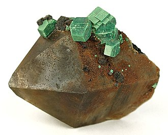 Smoky quartz - Image: Metazeunerite Quartz 201156