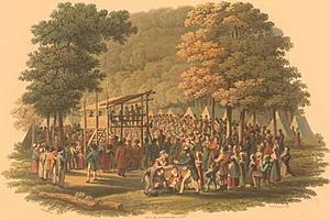 Early life of Joseph Smith - An engraving of a Methodist camp meeting in 1819 (Library of Congress)