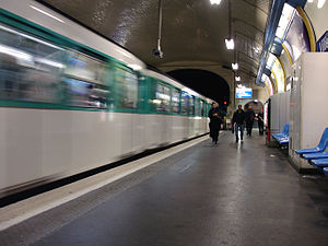 Paris Métro Line 3 - MF 67 stock train departing Villiers