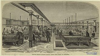 Pool (cue sports) - Historic print depicting Michael Phelan's billiard saloon in New York City, January 1, 1859.
