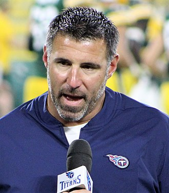 Mike Vrabel - Vrabel during halftime in his first preseason game as head coach in 2018