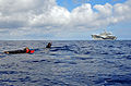 Military Sealift Command search and rescue swimmers assigned to the U.S. 6th Fleet command ship USS Mount Whitney (LCC 20) recover a mannequin during a man overboard exercise in the Mediterranean Sea Oct. 2 131002-N-PE825-079.jpg