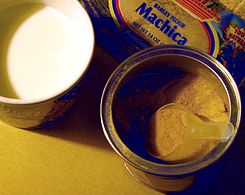 Milk, machica (in bag) and pinol mix (in tin).jpg