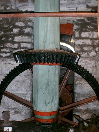 Glossary of mill machinery - Pit Wheel, Wallower and Upright Shaft.