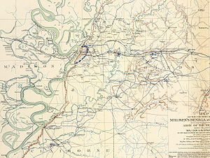 Battle of Milliken's Bend - Map of the Vicksburg area from Milliken's Bend to Jackson, Mississippi