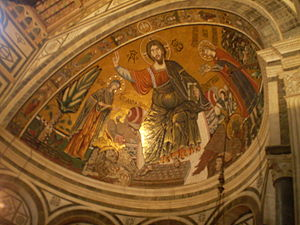 San Miniato al Monte - The mosaic depicting St. Miniato to the right of Christ holding a crown. The inscription reads: S. MINIATUS REX ERMINIE.