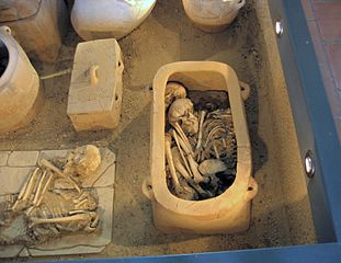 Minoan larnax with human remains inside